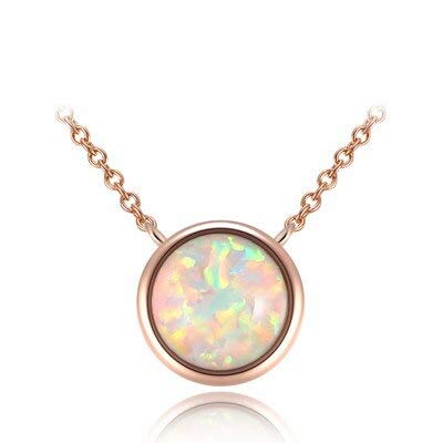FyaWTM Collana Ciondolo Collana di Gioielli in Opale con Pendenti Catena in Oro Rosa per Donna RegaloEleganteGirocolloDelicato