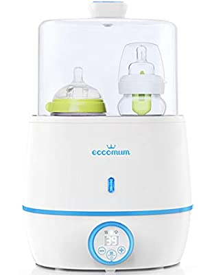 Baby Bottle Warmer & Bottle Sterilizer, Eccomum 6-in-1 Double Bottle Warmer for Breast Milk, Baby Food Heater with LCD Display Accurate Temperature Control, Constant Mode, Fit All Baby Bottles
