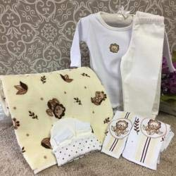 Kit Presente Para Bebê Jungle Bege Tamanho P