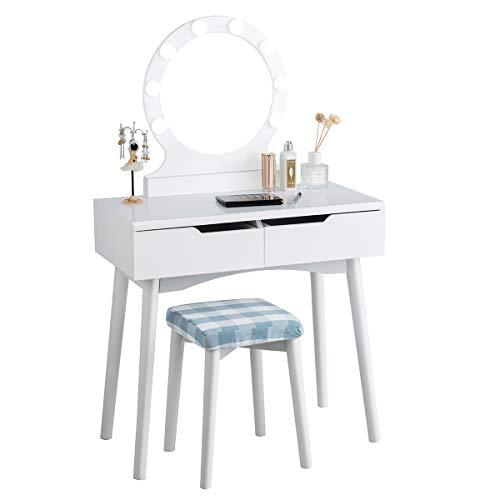 COSTWAY Schminktisch mit LED Beleuchtung, Make-up Tisch, Frisiertisch Holz, Frisierkommode, Kosmetiktisch mit beleuchtetem Spiegel und Hocker, Schminkkommode mit 2 Schubladen (Weiß)