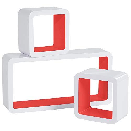 WOLTU RG9229rt Wandregal Cube Regal 3er Set Bücherregal Regalsysteme, Retro Hängeregal Würfel, weiß-hellrot