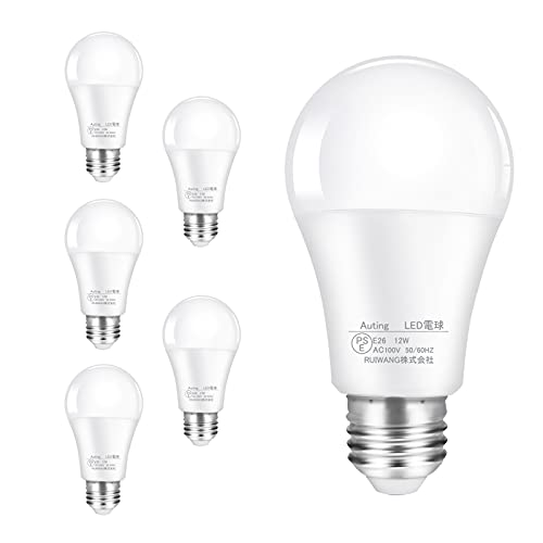 【Amazon限定ブランド】Auting LED電球 e26 12W 100W形相当 昼白色 6000K 広配光 密閉器具対応 断熱材施工器具対応 非調光型 電球 省エネ PSE認証済み 6個入り