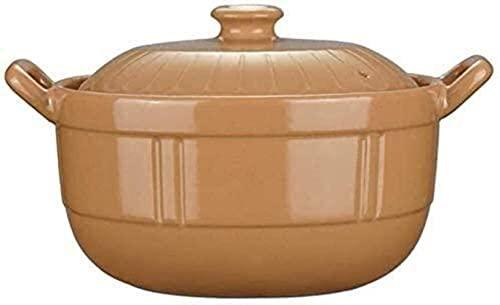 Cazuelas, Cacerola redonda de arcilla cazuela de cerámica, olla con tapa, olla de arcilla, cebolla olla olla Crockpot Crockpot cazuela, olla de cocción lenta, cazuela de sopa gruesa