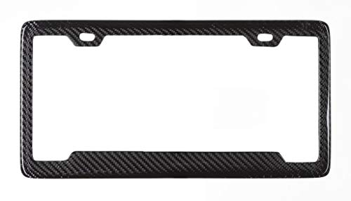 BLVD-LPF Real 100% Carbon Fiber License Plate Frame Tag Cover FF - D with Matching Screw Caps - 1 Frame