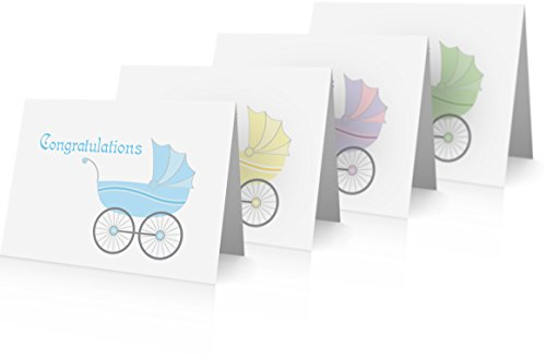 New Baby Congratulations Greeting Cards (12 Foldover Cards and Envelopes) New Baby Cards