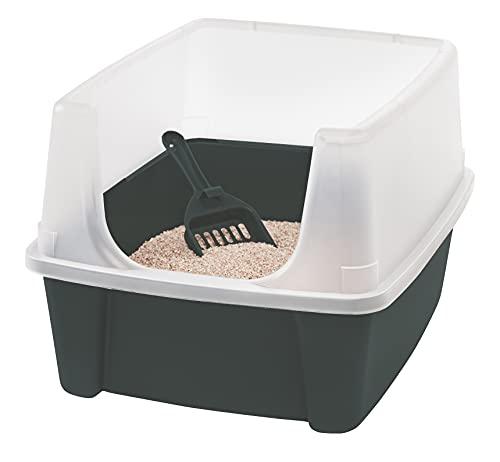 Iris Ohyama, Bandeja de arena   arenero gatos con borde alto, sin saliente de basura, borde alto extraíble, altura de entrada: 15 cm, pala incluida, para gato - Cat Litter Box CLH-12 - Gris
