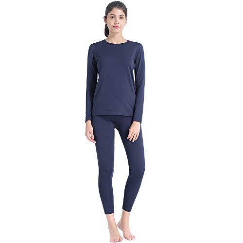 Subuteay - Conjunto de ropa interior térmica para mujer, forro polar largo, de doble capa, Marino, S