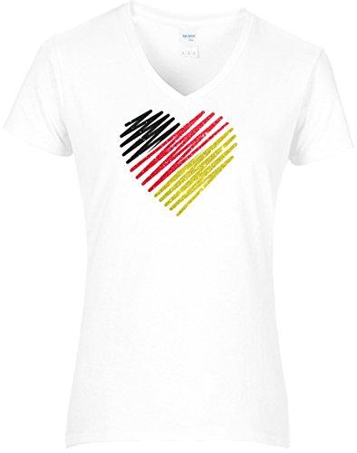 Damen WM Shirt Deutschland Fussball Glitzeraufdruck Herz Deutschland Farben Germany, T-Shirt, Grösse XL, Weiss