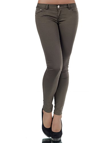 H937 Damen Jeans Hose Hüfthose Damenjeans Hüftjeans Röhrenjeans Röhrenhose Röhre, Größen:40 (L), Farben:Khaki