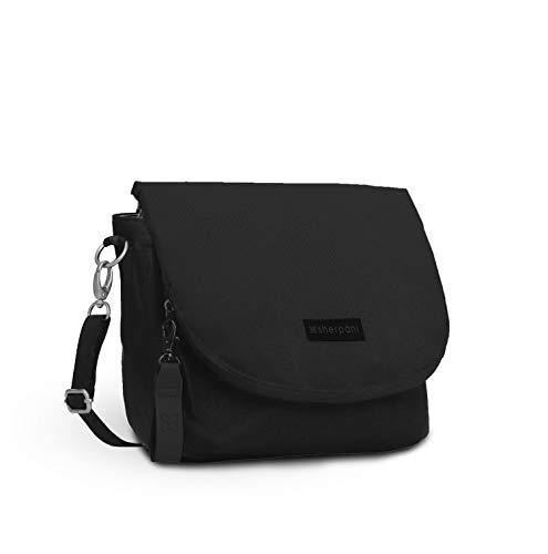 Sherpani Milli, Medium Crossbody Purse, Messenger Bag, Flap Shoulder Bag, Nylon Crossbody Bag for Women, RFID Protection (Raven)