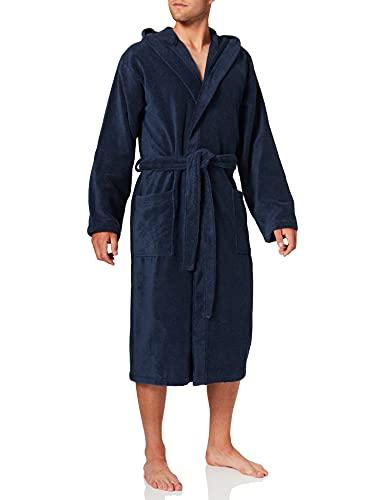 Schiesser Bademantel mit Kapuze Robe de Chambre, Bleu Marine (815), XL Homme