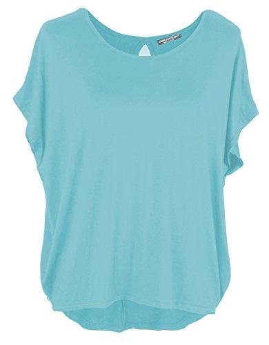 Emma & Giovanni Damen Basic Sommer T-Shirt/Oberteile Kurzarm, Hellblau, Gr.- DE 38-40 (Herstelleretikett M)