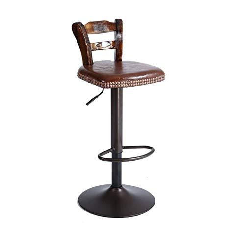 Barstuhl Barhocker Casino American Style Retro Bar Stühle Rotating Chair Lift Sessel Massivholzrückenlehne Barhocker for Familie und Business Office (Color : Brown)