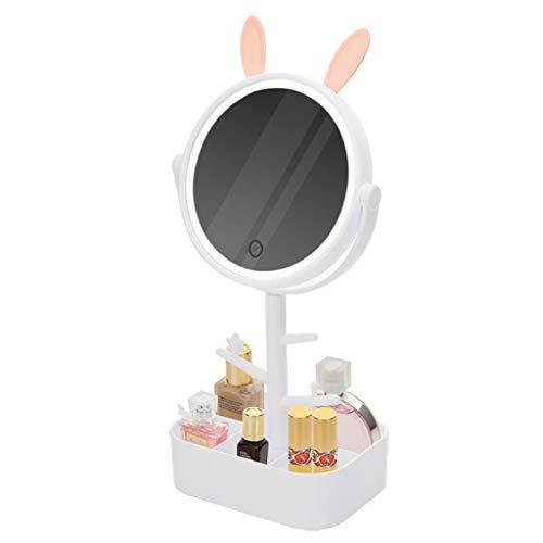 Miroir JT- LED Maquillage Bureau Bijoux boîte de Rangement cosmétique Dressing Stand Portable avec Lampe Petit et Pratique