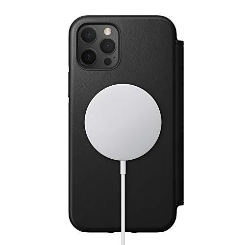 NOMAD Rugged Folio Hülle mit MagSafe-Kompatibilität, Klapphülle aus Echtleder kompatibel mit iPhone 12 & iPhone 12 Pro in schwarz