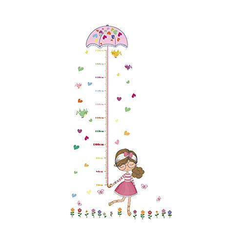 DW4Trading® Groeimeter muursticker meisje met paraplu