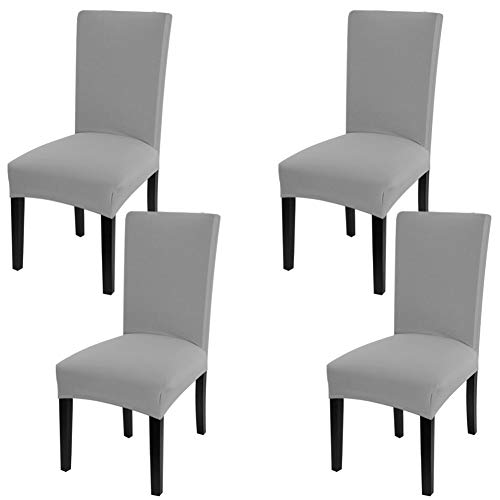 Fuloon 4 Pack Super Fit Stretch Removable Washable Short Dining Chair Protector Cover Seat Slipcover for Hotel,Dining Room,Ceremony,Banquet Wedding Party (Light Gray)