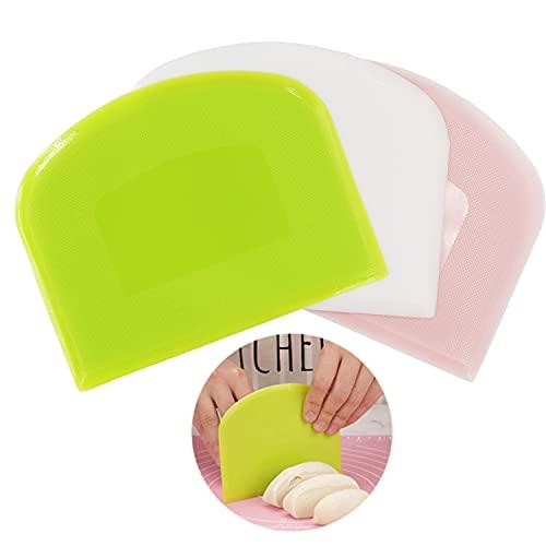 ViVidLife Rasqueta Panadero, Rasqueta de Masa de Plástico, 3 Piezas Raspador de Masa Rasqueta Cortadora Espátulas Reposteria de Cocina para Repostería Hornear la Crema de Mantequilla Pasteles de Pan