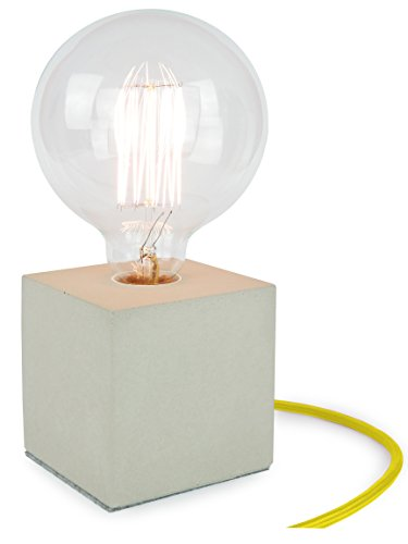 Buchenbusch Urban Design Lampada a cubo da tavolo design industriale in calcestruzzo, lampadina non inclusa, cavo giallo