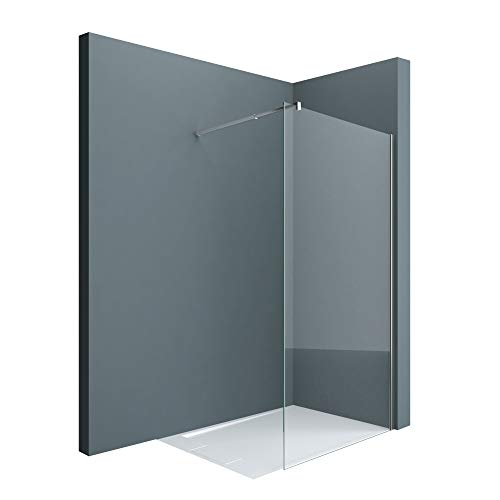 doporro Luxus Duschwand Duschabtrennung Bremen2K 140x200 Walk-In Dusche mit Stabilisator aus Echtglas 10mm ESG-Sicherheitsglas Klarglas inkl. Nanobeschichtung