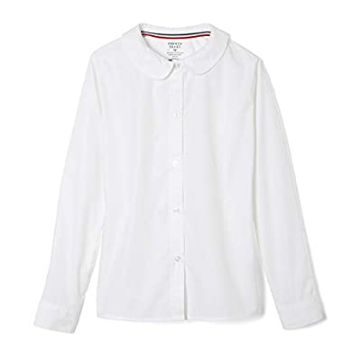 French Toast Girls' Long Sleeve Woven Shirt with Peter Pan Collar (Standard & Plus), White, 4T