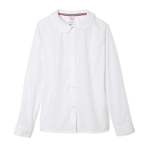 French Toast Girls' Long Sleeve Woven Shirt with Peter Pan Collar (Standard & Plus), White, 8