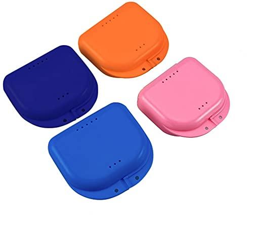 SUMEDTEC Caja de Baños para Dentadura 4PCS - Cajas para Retenedores para Ortodoncia Dental Protesis Dentadura Postiza Estuche para Retenedores Dentales