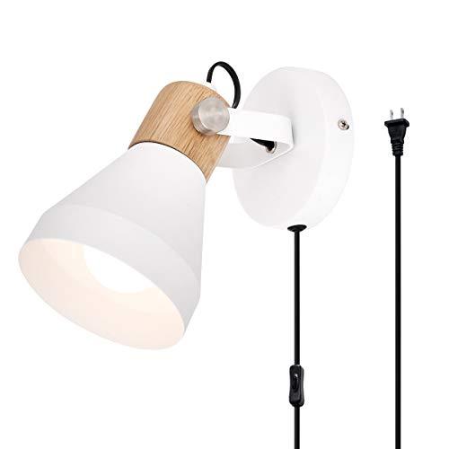 TeHenoo Contemporary White Wall Sconce, Rotatable Wall Lamp