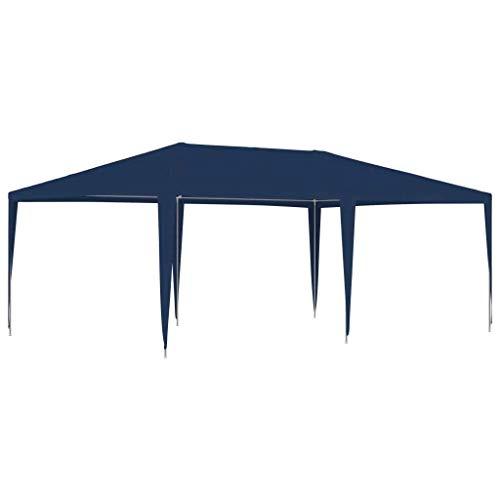 vidaXL Tente de Réception Tonnelle de Patio Chapiteau de Jardin Pavillon d'Extérieur Belvédère de Terrasse Voyages de Camping 4x6 m Bleu