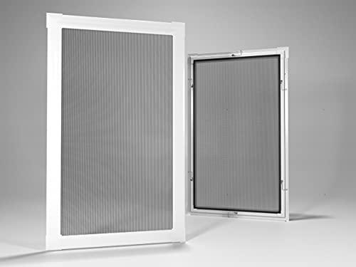 Home-Vision® Insektenschutz Fliegengitter Fenster Alu Rahmen Mückengitter Fliegenschutz in Weiß, Braun oder Dunkelblau als Selbstbausatz (Weiß, B120cm x H140cm)