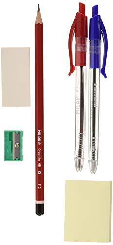Milan BYM80064 - blister met balpen, grafietstift, gum, puntenslijper en notities, blauw/rood
