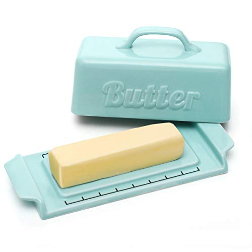 DOWAN Butter Dish with Knife - Porcelain Butter Dishes with Lid and Groove Design, Mini Butter Dish with Wooden Knife, Perfect for Standard Butter Stick, Blue