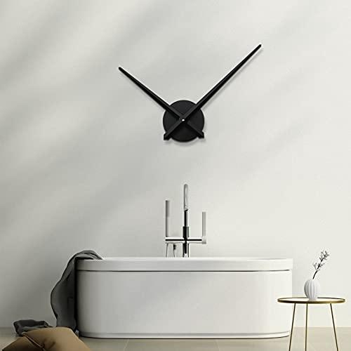 URAQT Reloj de Pared 3D DIY, Moderno Reloj de Pared Salon Sin Marco, Reloj de Pared Adhesivo Grande, Decoración para Casa, Restaurante, Oficina y Hotel (Negro)