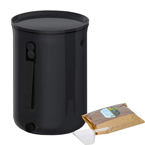 Skaza Bokashi Organko 2 (9,6 L) Preisgekrönter Küchenkomposter aus Recyceltem Kunststoff | Starterset für Küchenabfälle und Kompostierung | mit Fermentationsaktivator 1 kg (Schwarz)