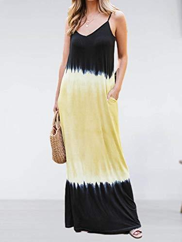 Gradient - Vestido largo sin mangas con falda bohemia, con bolsillos, ropa para mujer