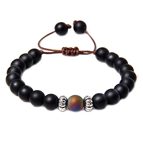 XiaoYing Pulsera trenzada para hombre con piedra de ágata negra esmerilada natural para hombre, joyería de yoga (color : B, tamaño: M)