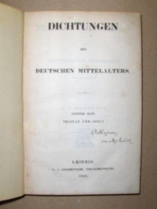 Tristan und Isolt. Dichtungen des deutschen Mittelalters - zweiter Band (Leipzig 1843)
