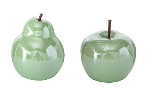 B.o.l.t.z.e Apfel + Birne Perly Porzellan Ø 10 cm, Farben:grün