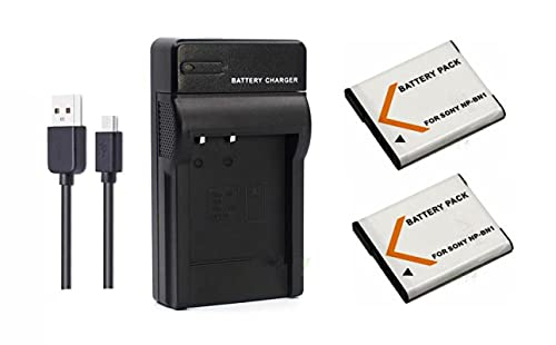 Grehod 3.7V 650mAh NP-BN1 NP-BN Batería para Sony DSC-T99 TX100 TX200 TX30 TX55 TX66 DSC-W310 W320 W670 W690 W710 W730 W830 WX100 QX30 QX100 Cámara 2Battery1Charger