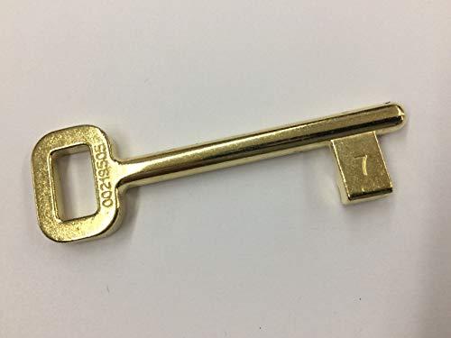 Chiave AGB per porte scorrevoli con serratura AGB, modello 701, cifratura n. 07, finitura ottone lucido verniciato.