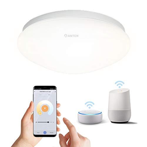 Anten Plafon de techo LED (WIFI regulable),Lámpara Led techo controlada por APP, compatible con Alexa, 3000k-6500k, adecuada para residencia, hotel, hospital (Clase de eficiencia energética A +)