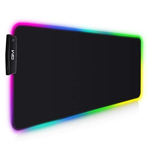 GIM Tappetino per Mouse RGB, LED Tappeti di Mouse per PC 800 x 300 mm XXL, 14 Modalità di Illuminazione e 10 Colori, Impermeabile Antiscivolo