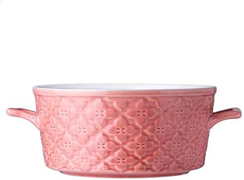 XUEXIU New Wave Soup Plate Saladier Bols De Fruits Maison Bol Saladier Creative Soup Bowl Personnalisé Vaisselle en Céramique Perfect for Catering and Home (Color : Pink, Size : 24.5 * 9CM)