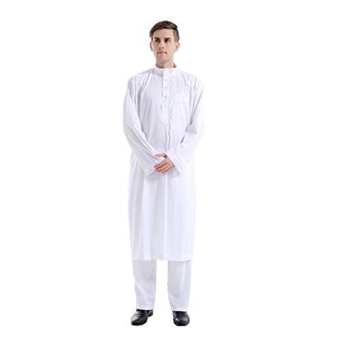 YUHUISTART Abaya Muslim Herren 2 Sätze Ethnisch Langarm Einfarbig Islamic Freizeit Taste Mittleren Osten Maxi-Roben + Hose Suite Kaftan Jumpsuit Pulli(Weiß,EU-32/CN-S)