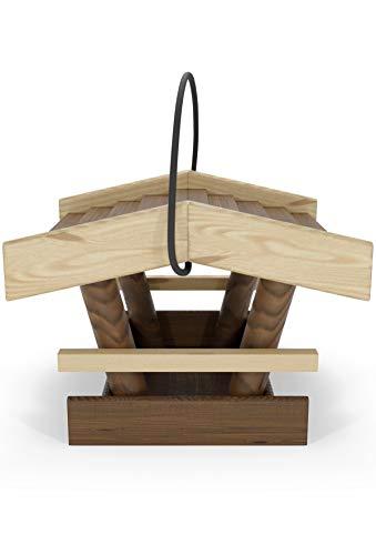 Natureflow Vogelhäuschen zum Aufhängen Holz - 19x19x15cm Vogelfutterhaus aus FSC Holz - Top EU-Qualität - Wetterfest, Ideal für Garten und Balkon - Mit robustem Seil - Schönes Futterhäuschen für Vögel