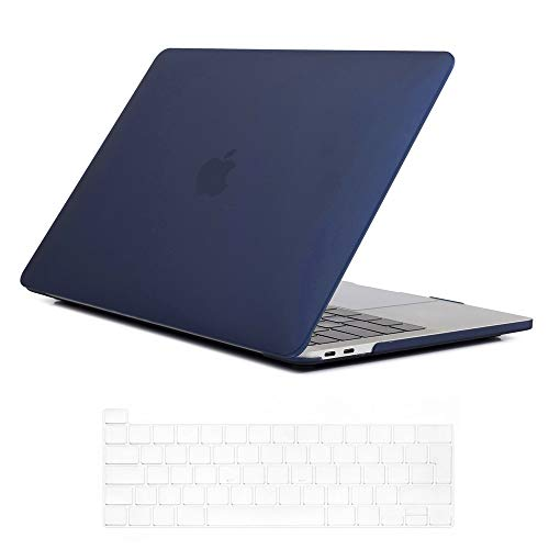 Se7enline 2020 MacBook Pro 13 inch Case Frosted Plastic Hard Shell Laptop Cover for MacBook Pro 13-inch Model A2338/A2251/A2289 with Touch Bar Touch IDd with Keyboard Skin, Navy Blue