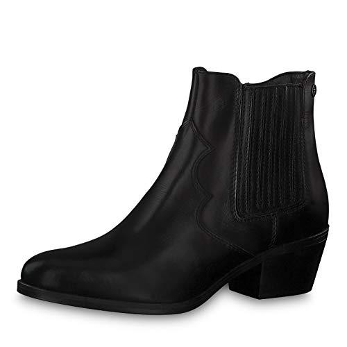 Tamaris Damen Stiefeletten 25705-33, Frauen Stiefelette, Women Woman Freizeit leger Stiefel Boot halbstiefel Bootie Damen,Black Leather,38 EU / 5 UK