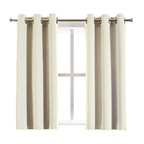 Aquazolax Blackout Draperies Curtains - Decorative Eyelets Top Solid Thermal Blackout Door/Window Curtain Drapes for Bathroom, 2 Panels, 42W x 54L Inch, Beige