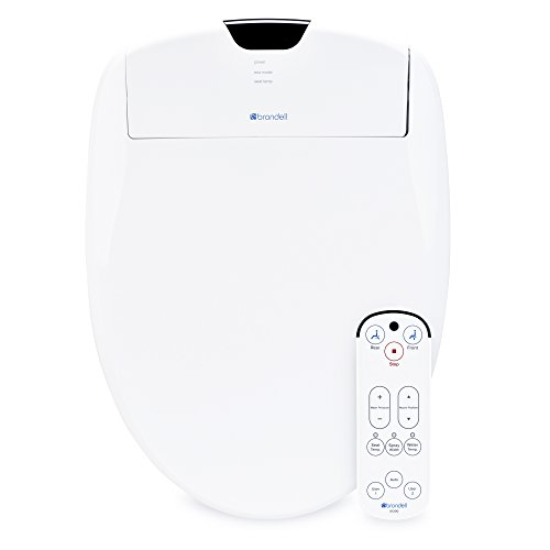 Brondell Swash S1200-EW Luxury Bidet Toilet Seat in Elongated White with Dual Stainless-Steel Nozzles   Endless Warm Water   Programmable User Settings   Self-Cleaning Nozzles   Nightlight