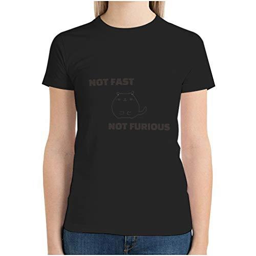 Camiseta de algodón para mujer con texto 'Not Fast Not Furio', diseño bonito y divertido. negro XL